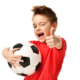 Fan sport boy player hold soccer ball in red t-shirt celebrating